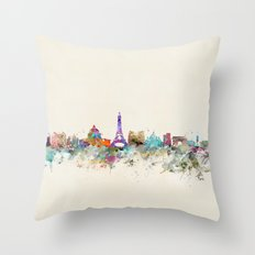 Paris City Skyline  Throw Pillow