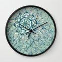 Emerald Green, Navy & Cream Floral & Leaf doodle Wall Clock