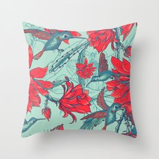 Flowers and Hummingbirds Throw Pillow