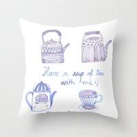 Decorative Teapots Throw Pillow