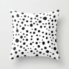Ink drops splats splots inky texture painting abstract black and white minimal modern dorm college  Throw Pillow