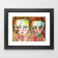 2 Girls Framed Art Print