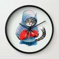 Boxing Cat Wall Clock