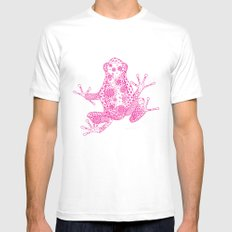 Little Frog Magenta SMALL White Mens Fitted Tee