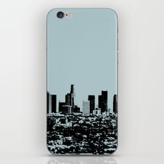 Downtown Los Angeles Skyline - Stamp Pattern on Light Blue iPhone & iPod Skin