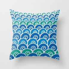 Blue Beach Waves Throw Pillow