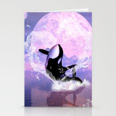 Orca jumping by a heart  Stationery Cards