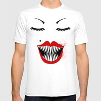 MANEATER. Mens Fitted Tee White SMALL