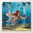 Mermaid holding Sea Lily Canvas Print