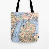 Michigan Railroad Map Tote Bag