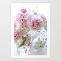Dreamy Pastel Pink Peonies Art Print