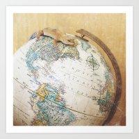 Globe-Trotting Gecko Art Print