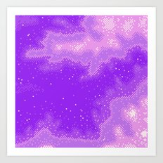 Purple Nebula (8bit) Art Print