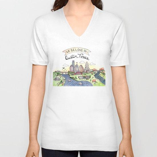 We Belong in Austin V-neck T-shirt