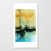 BOSTON 1 - BLUE-GOLD Canvas Print