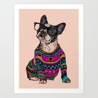 Hipster Frenchie Art Print