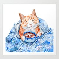 Happy Cat Drinking Hot C… Art Print