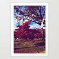 Fall My Way | Red Art Print