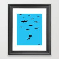 WTF? Tiburones! Framed Art Print
