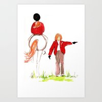 Sketches of a favorite equestrian Art Print