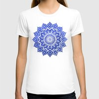 white T-shirts featuring ókshirahm sky mandala by Peter Patrick Barreda