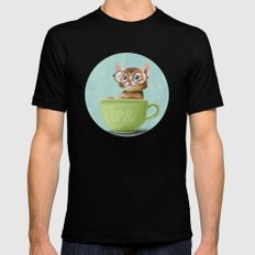 Kitten with glasses Black Mens Fitted Tee SMALL