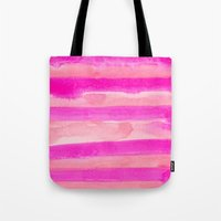 Tote Bag featuring Pink Stripes by Julia Hendrickson