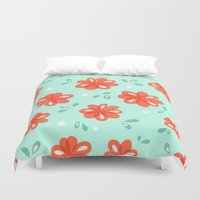 Cheerful Red Flowers Pat… Duvet Cover