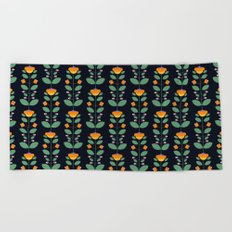 Bud'n Bloom (deep blue) Beach Towel