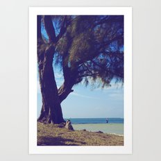 Fisherman in the distance, Mauritius Art Print