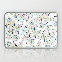 Modern pastel pink watercolor gold floral hand drawn paisley Laptop & iPad Skin