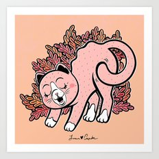 Cat Purring Art Print