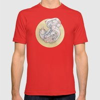 The Lady And The Cat. Mens Fitted Tee Red SMALL