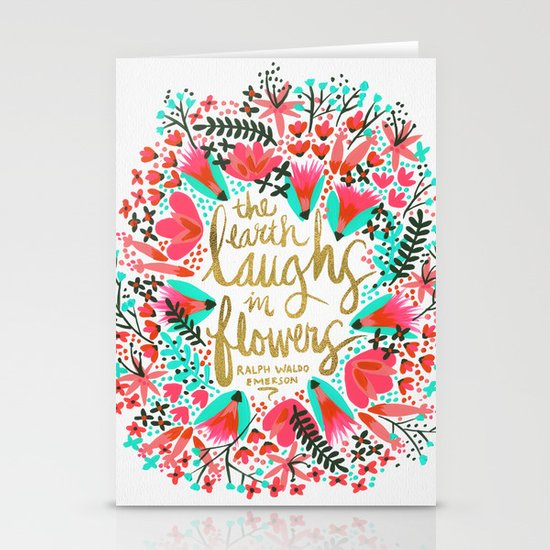 The Earth Laughs in Flowers – Pink & Gold Stationery Card
