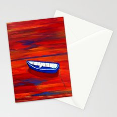 Little blue boat Stationery Cards