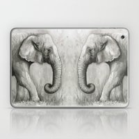 Elephant Watercolor Black and White Animal Painting Laptop & iPad Skin