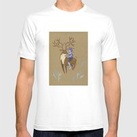 Deer and Girl Mens Fitted Tee White SMALL