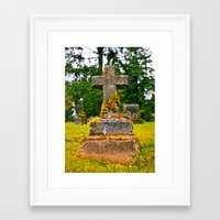 Framed Art Print featuring Small cemetery cross by Vorona Photography