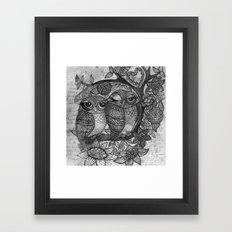 Owl in black and white Framed Art Print