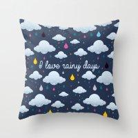 I Love Rainy Days Throw Pillow