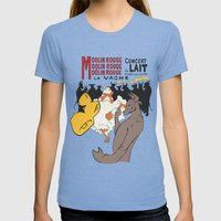Moolin Rouge - This Cow Can Can Can Womens Fitted Tee Tri-Blue SMALL