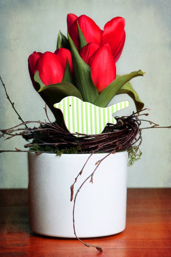 three tulips and a wooden bird Art Print