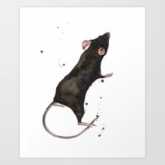 Rat, rodent painting, black rat, ratty, watercolor rat, rat pillow cover Art Print