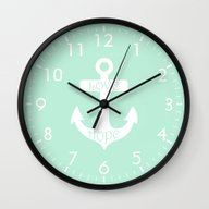 Wall Clock featuring Love Hope Anchor Mint Gr… by Beautiful Homes