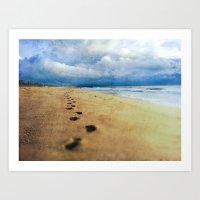 Footprints in the Sand (California Beach) Art Print
