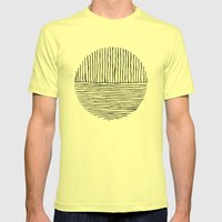 Circle : Vertical / Horizontal Mens Fitted Tee Lemon SMALL