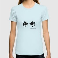 Fish 2 Womens Fitted Tee Light Blue SMALL