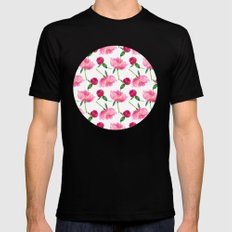 Peonies Black SMALL Mens Fitted Tee