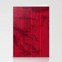 Grunge Blue stripes on bold red background illustration. Stationery Cards