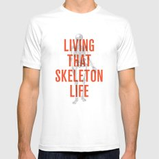 Living That Skeleton Life Mens Fitted Tee SMALL White